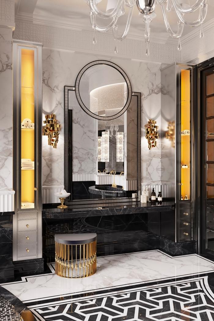 colonne rangement chrome carrelage blanc et noir formes géométriques carreaux marbre blanc architecture art deco