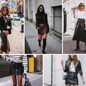 comment bien s habiller femme jupe tenue avec vetement cuir blouse noire accessoires tenue automne femme