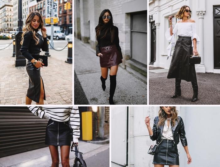La tenue avec jupe en cuir : 50 idées comment l'adopter pendant toute l'année