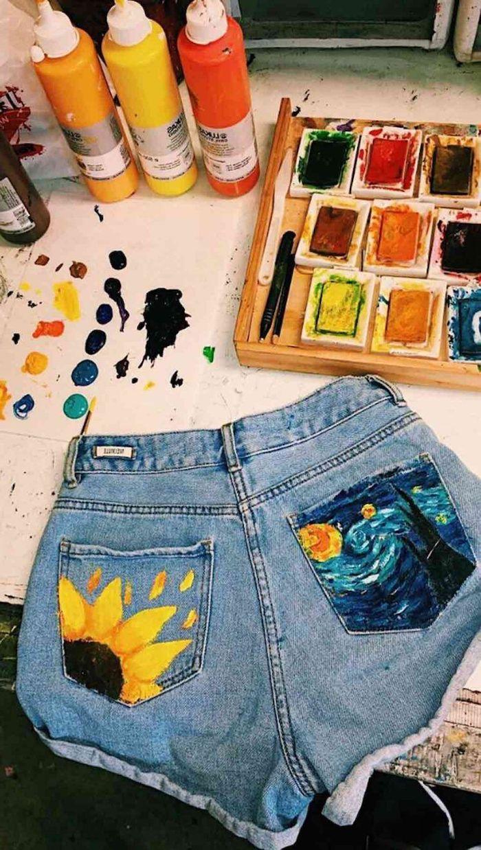 comment customiser un jean a l aide de la peinture des shorts peints aux poches en style van gogh