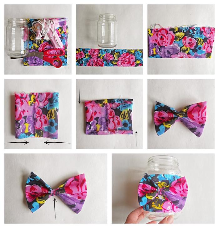 comment décorer un pot en verre de bande de tissu et noeud de papillon coloré