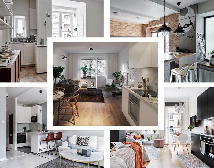 comment decorer un studio avec petite cuisine d angle agencement coin cuisine ouverte vers le salon deco gris et blanc