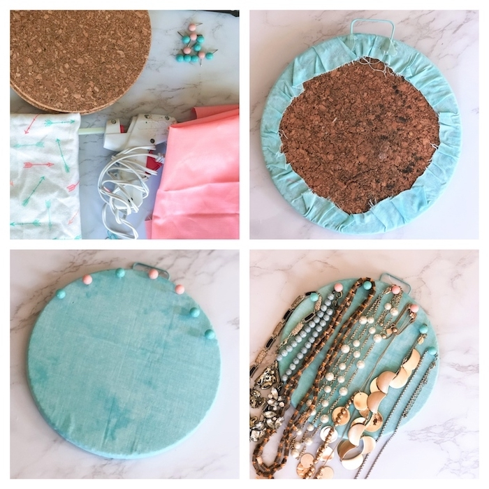 comment fabriquer un organisateur à bijoux diy en dessous d assiette tapissé de tissu bleu organisateur colliers
