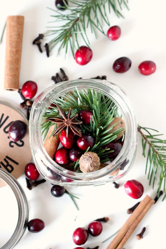 comment faire un pot pourri d anis étoilé canneberges batons de cannelle noix brin de pin en petit pot en verre