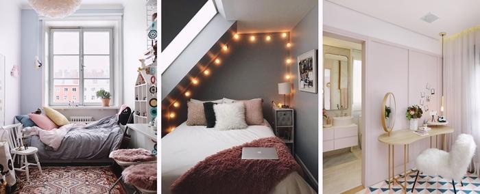 couleur peinture chambre ado mur fonce guirlande lumineuse coussins fausse fourrure peinture rose chambre fille