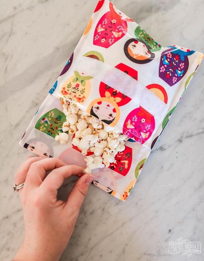 couture zero dechet projet de bricolage sacohe sac à popcorn facile a faire soi meme