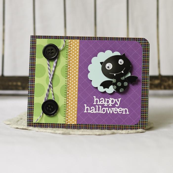 creation halloween facile diy carte en papiere multicolore motifs carreaux boutonés noirs fil petit chauve souris papier noir