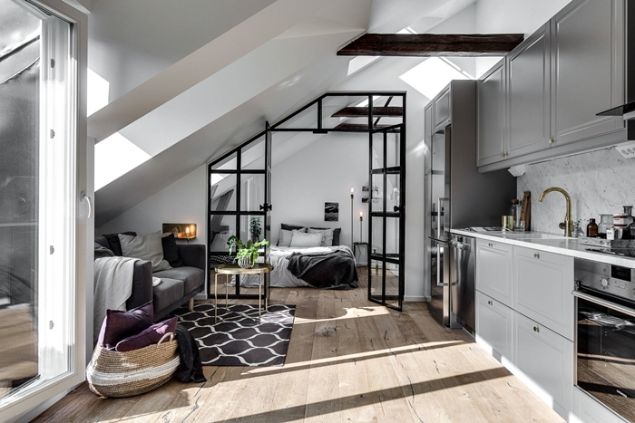 cuisine appartement studio décoration style moderne industriel cloison verre crédence marbre plan de travail