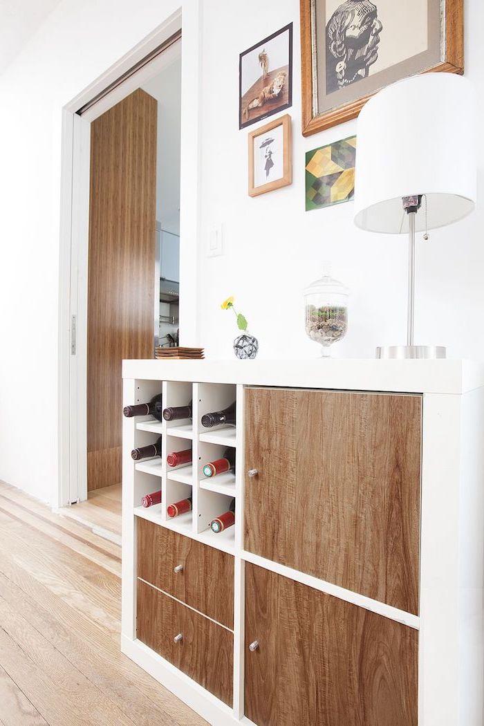 customiser kallax changement des portes une commode aux bouteiles de vin comment relooker un ;eubl