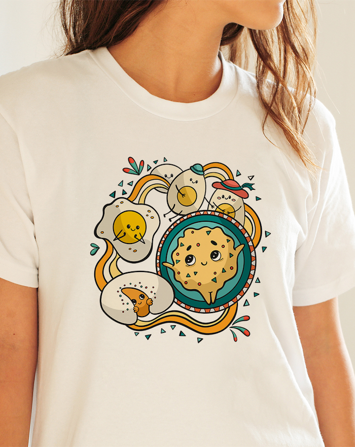 customiser un tshirt avec des imprimes un tee blanc avec des images des oeufs amusants