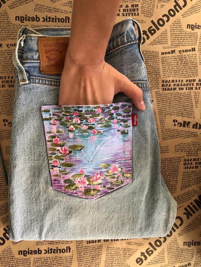 customiser un vetement comment peindre sur les poches des jeans technique faciles