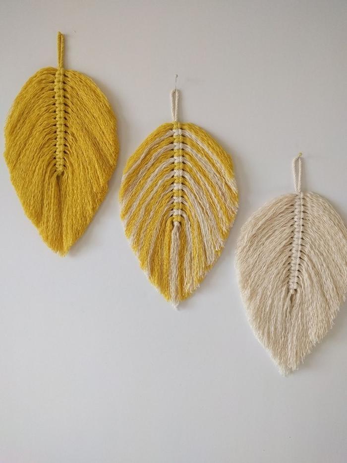 décoration macramé facile comment décorer les murs dans le salon avec objets diy feuille automne en fil jaune
