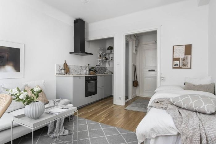 décoration petite cuisine appartement espace ouvert revêtement sol parquet bois tapis moelleux gris cuisine crédence marbre