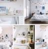 deco chambre fille ado cocooning lit coussins decoratif guirlande lumineuse art mur cadres photos blanc et noir
