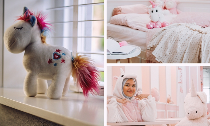 decoration chambre ado fille sur theme licorne combinaison pyjama licorne rose pastel corne peluche deco lit cocooning