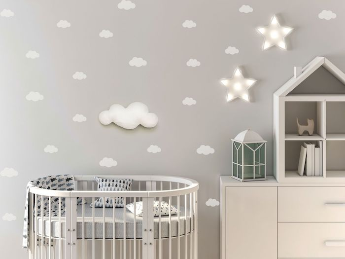 des étoiles éclairage chambre bébé meuble blanc lit bébé nlanc rond mur gris perle deco cocooning