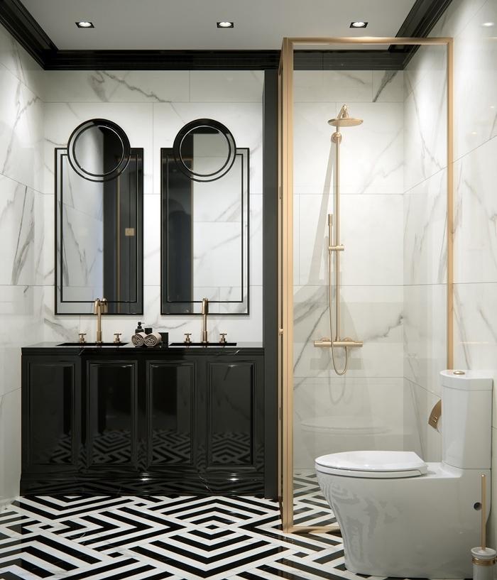 design intérieur style luxe idée salle de bain moderne murs marbre carrelage sol lignes géométriques noir et blanc