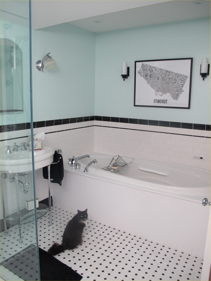 design salle de bain style rétro peinture murale bleu pastel cadre photo noir baignoire robinet inox deco art deco