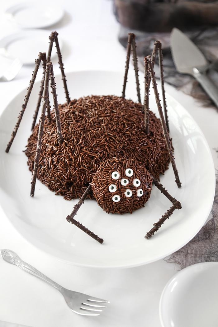 dessert chocolat recette halloween sucree gateau en forme d araignee facile cacao poudre chocolat fondu