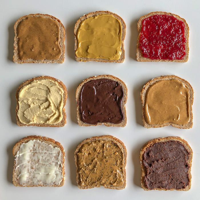differentes types de pates a tartiner sales et sucres beurre de cacaouhettes confiture et chocolat