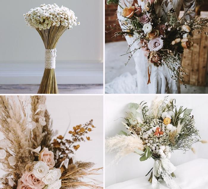 diy bouquet de fleurs sechees mariage comment faire bouquet mariee originale style boheme