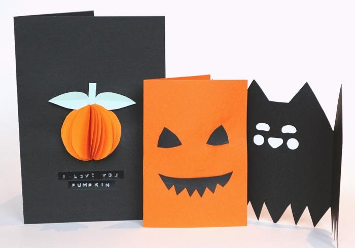 diy carte halloween facile a faire art papier scrapbooking feuille cartonnee orange jack o lanterne forme papier carte effrayante