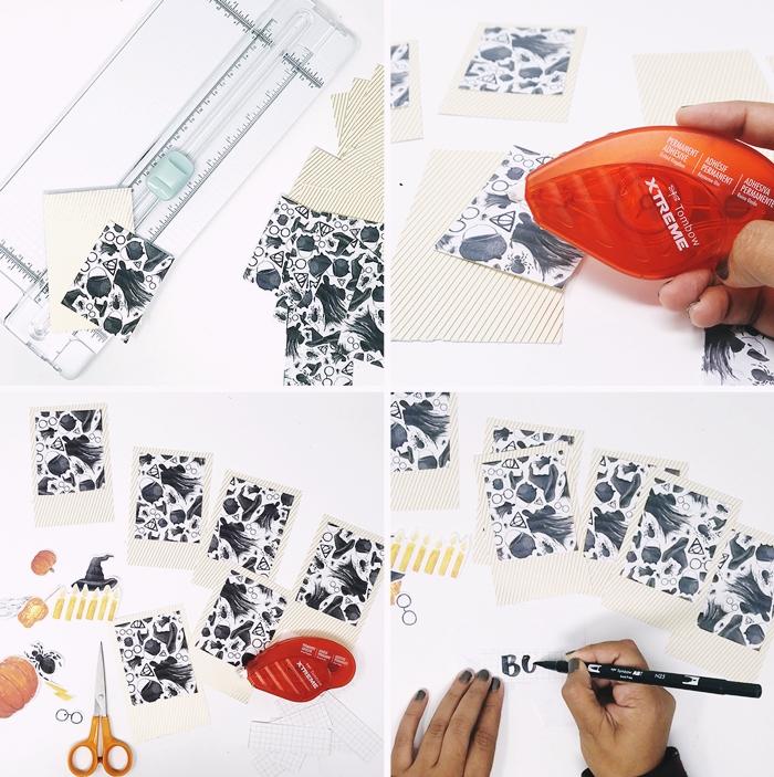 diy carte joyeux halloween feuille papier scrapbooking motifs sorciere blanc et noir stickers automne citrouille colle ciseaux