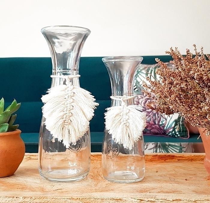 diy macramé original à faire soi même tressage facile feuille macramé noeud plat fil blanc décoration bouteille verre