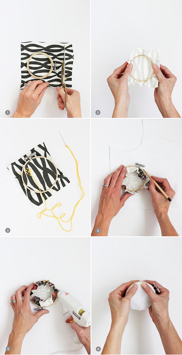 diy tissu decoration murale tambour à broder et chutes tissu recyclées fabrication pbjet decoration