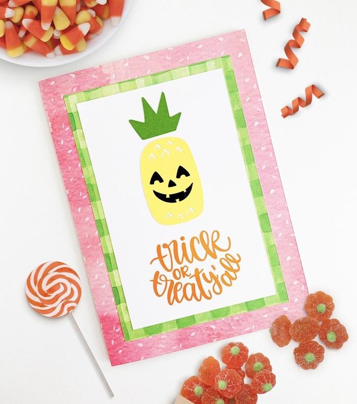 ecriture halloween digitale carte halloween facile à faire enfant activité automne papier scrapbooking rose citrouille papier