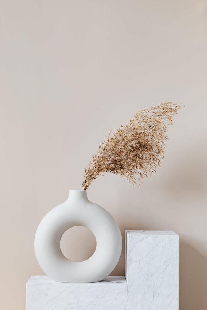 esthetique minimalste et couleurs neutres avec une vase sur meuble en merbre fond d ecran pour la pc
