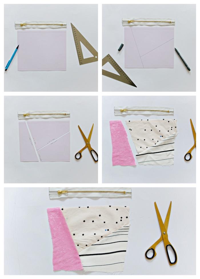 exemple tuto couture pochette de pans de tissu colorés de tailles variés exemple bricolage adulte