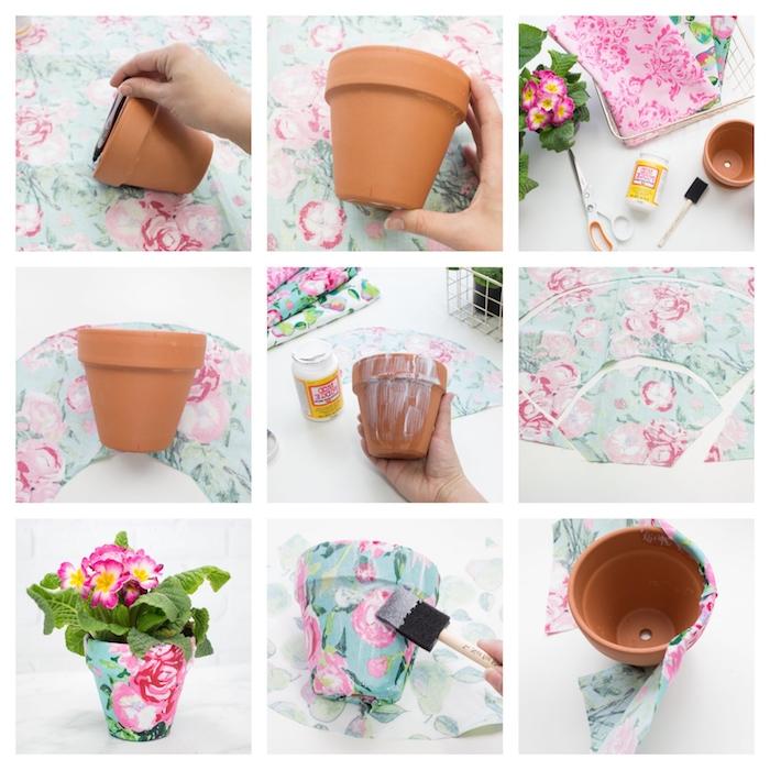 fabriquer des objets en tissu diy pot de fleur decoration de tissu imprimé fleuri recyclage créatif