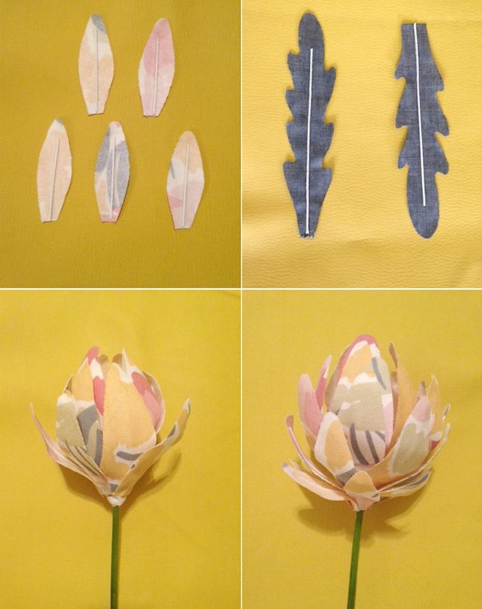 fabriquer une fleur en tissu à partir de chutes tissu coloré et tige artificielle que faire avec des chutes de tissu