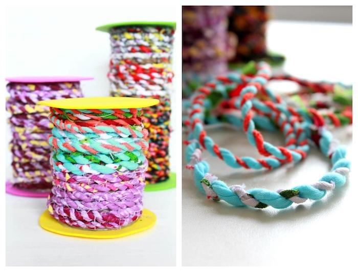 faire une cordelette de tissu à partir de chutes tissu recyclé idée couture zero dechet simple