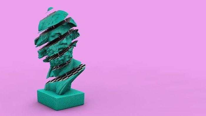 fond d ecran trop style avec une statue en turauqoise debite sur un fons rose esthetique syntwave