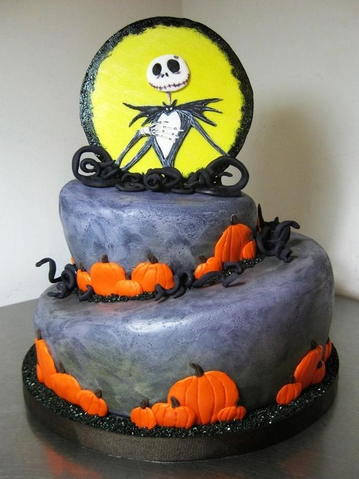 gateau halloween citrouille glaçage colorant alimentaire gris squellette citrouille en sucre pâte colorant alimentaire orange