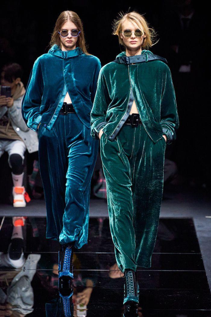 giorgio armani idee tenue femme style sportif des tailleurs en pluche couleurs verte et turquois avec lunettes de soleil