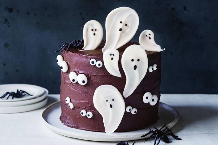 glaçage chocolat fantôme pâte sucre petit gateau halloween yeux sucre araignée pâte sucre fondant décoration
