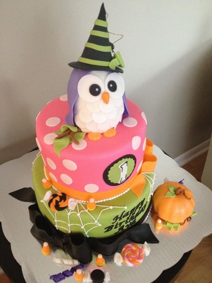 hibou pâte de sucre gateau anniversaire halloween pour enfant fondant décoration gâteau colorant alimentaire citrouille sucre