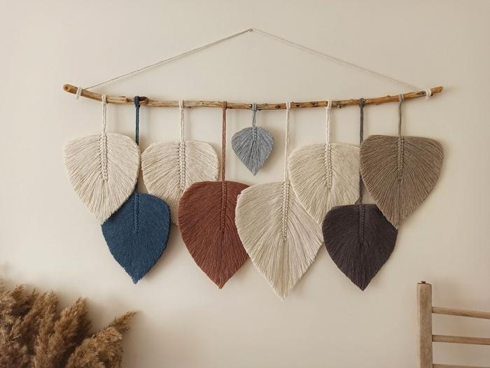 idée comment faire décoration macramé facile débutant macramé feuilles noeud plat bâtonnet bois corde