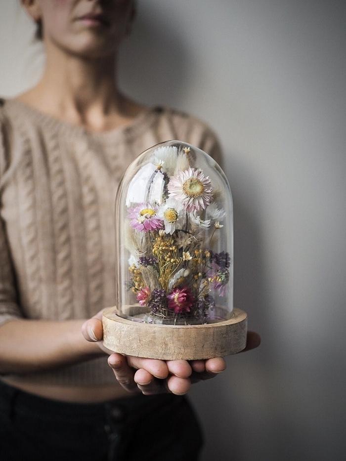 idée de décoration sur l automne original cadeau diy rondelle bois contenant en verre diy création plantes séchées