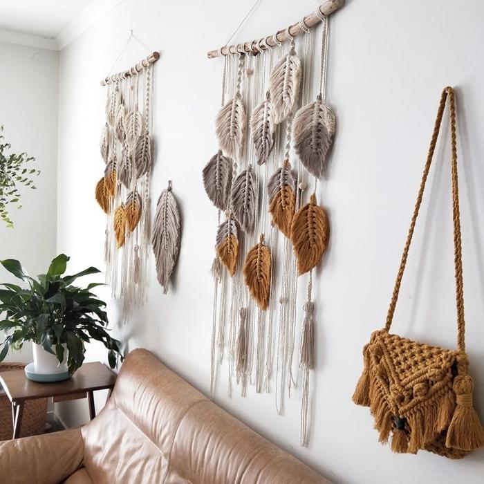 idée de tuto macramé mural debutant avec corde noeud tête en alouette simple bâtonnet bois suspension bohème macramé