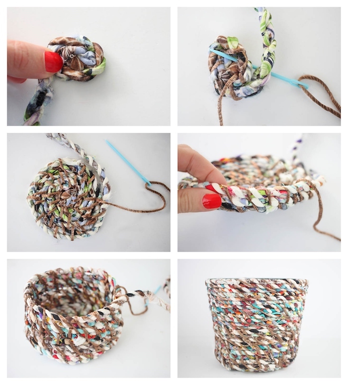 idée cadeau couture simple exemple de pot de fleur fabriqué avec cordelette de tissu recyclé et fil
