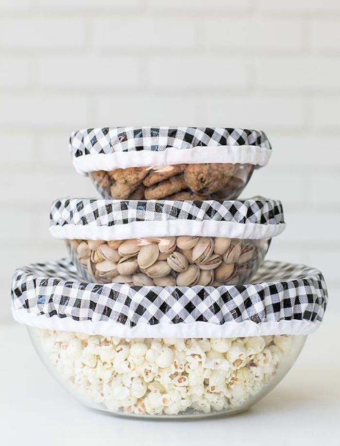 idée couture zero dechet couverture de saladier et bol en tissu recyclé idée maison zero dechet