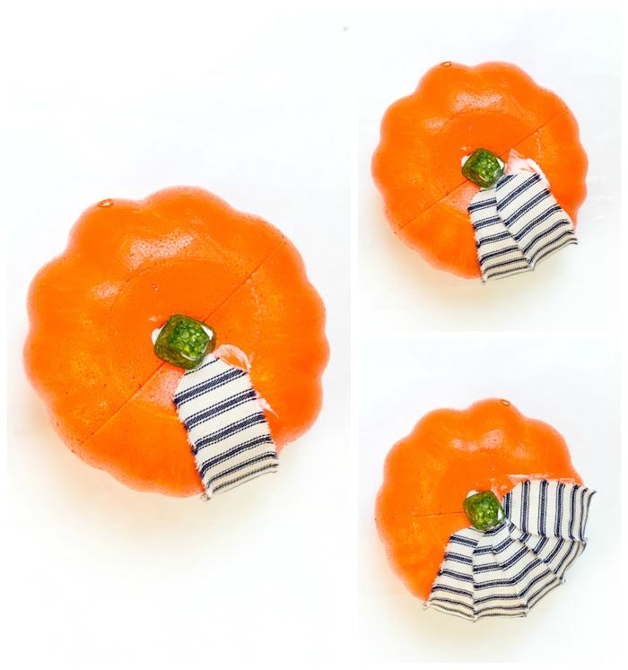 idée de mini citrouille de halloween décorée de chutes de tissu bandes colorées recyclage tissus idée originale de bricolage halloween