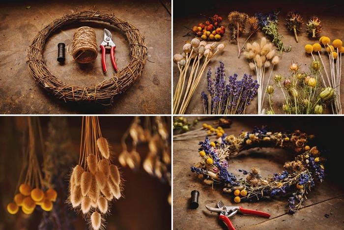 idee comment faire une couronne de fleurs sechees methode technique sechage a l air libre couronne diy fleurs