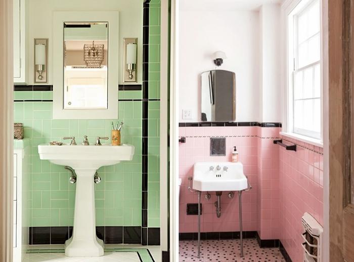 idee deco salle de bain rétro style carrelage vert bordure noire évier sur piédestal robinet inox miroir applique murale