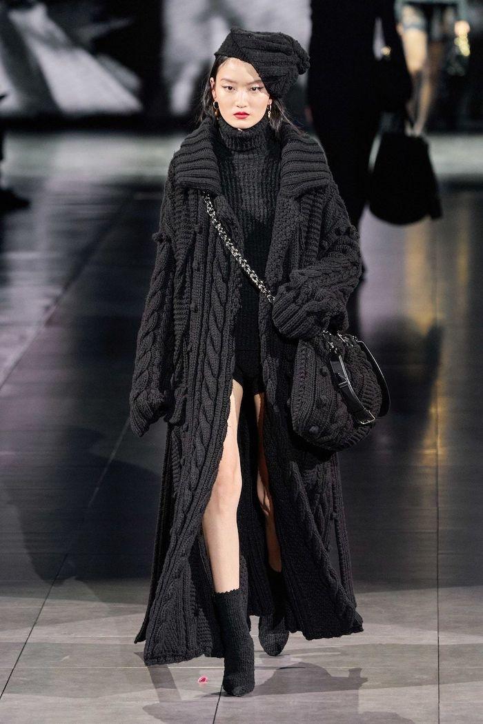 idee tenue femme robe manteau chapeau et sac tricotees les dernieres tendances dans les vetements