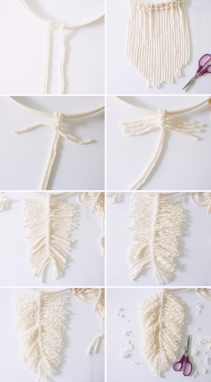 instruction comment faire une plume en laine avec la technique noeud macrame diy deco murale cerceau bois couronne feuilles macrame tuto macrame mural